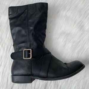 Girls Black Mid-Calf Zip Up Boots